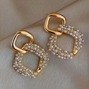 Vintage Tassel Simulation Grape Pearl Stud Earrings Dangle Drop Jewelry Gifts