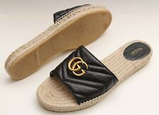 GUCCI 'Marmont' GG Espadrille Open Toe Black Gold Women's Flats Sz 41 / US 11