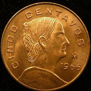 1966 Mexico 5 Centavo BU KM 426