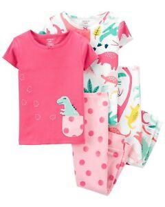 NWT Carter's sz 3T 4T 5T 4-Piece SS Dinosaur Cotton Pajama PJs Set NEW Girls