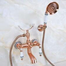 Antique Red Copper Bathroom Clawfoot Tub Faucet With Hand Shower Mixer Tap