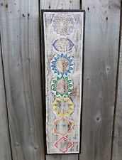 FairTrade Hand Carved Made Shabby Wooden Meditation Chakra Wall Art Plaque Large