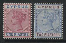 Cyprus QV 1894 1 and 2 piastres unused no gum