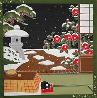 Japanese Quilt Fabric Furoshiki Cat Fabric 'Tama on a Snowy Night' Cotton 50cm