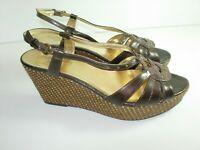 WOMENS BROWN GOLD ANNE KLEIN IFLEX SANDALS SLINGBACK CAREER HEELS SHOES SIZE 8 M