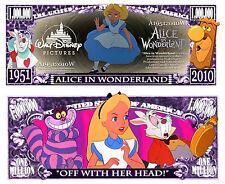 Alice in Wonderland Million Dollar Bill Collectible Funny Money Novelty Note