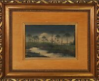 LANDSCAPE OF PALM TREES. OIL ON CANVAS. ILLEGIBLE SIGNATURE. XXTH CENTURY.