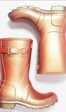 HUNTER UK 4 Short Wellington Boots Rhytmic Pink Nebula Wellies £95 Iridescent