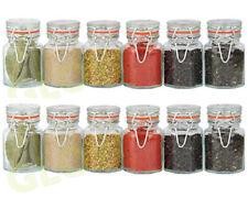 SET 12 GLASS SPICE JARS VINTAGE STORAGE CONTAINER POT HERBS SPICES JAM KITCHEN