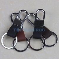 Fashion Men's Leather Strap Keyring Keychain Key Chain Ring Keyfob Clip  Holder