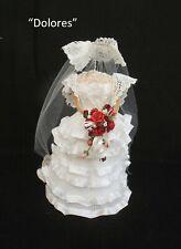 "DOLLS HOUSE BRIDAL SHOP -  ""DOLORES"" -  MINIATURE SPANISH STYLE WEDDING DRESS"