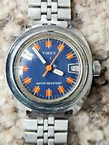 Vintage Rare Unique Mechanical Timex Ladies Date Watch Stainless Steel Bracelet
