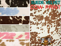 """Suede Velvet Cow Print Fabric Udder Madness Upholstery 58"""" Wide Sold By the Yard"""