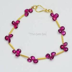 18K Solid Gold Brazilian Rubellite Pink Tourmaline Faceted Heart Bead Bracelet 7