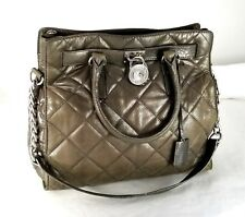Authentic MICHAEL KORS Pewter Quilted Leather Chain 2-Way Shoulder bag Purse