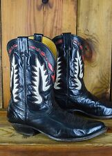 NOCONA Vintage Red White Inlay Peewee Size 9.5 D Men Western Cowboy Boots