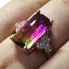 Sparkling Baguette Watermelon Tourmaline Ring Women Jewelry 14K Rose Gold Plated
