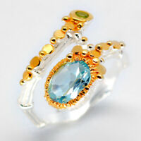 Fine 925 Sterling Silver Ring Natural Blue Topaz Fashion women jewellery / RVS04