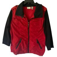 Zenergy By Chicos Womens Jacket Red Zip Up Pockets Ruched Stretch L/12 NWOT's