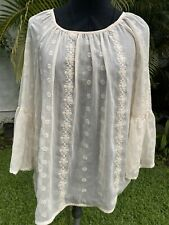 NWT KNOX ROSE TOP SHIRT BLOUSE SIZE S BEIGE ECRU EMBROIDERED ROMANTIC SUMMER