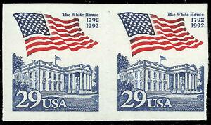Scott 2609 - 29¢ Flag Over White House, 1992 Pair - Perf Freak - Looks Imperf!