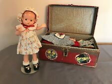 """1930s 9"""" Patsy Doll with Antique Paperboard Trunk with 15 Outfits"""