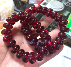 High-end Natural Blood amber Abacus beaded bracelet beeswax 8x17mm
