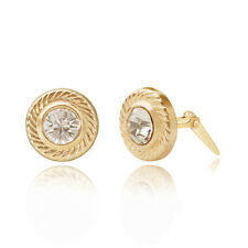 9ct yellow gold circle edged Andralok stud earrings / Gift box