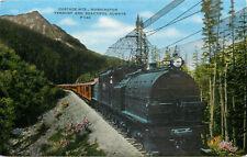 Linen Postcard B436 Cascade Mts Washington Verdant and Beautiful Alway Train