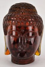 "Chinese Buddha amber carved head 4"" tall.  (BI#MK/180316)"