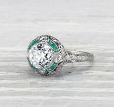 3.80 ct Round Cut Diamond and Emerald Vintage Art Deco Engagement Ring 925Silver