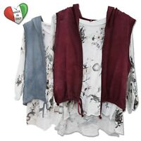 Wolfairy Women's Floral Top with Hoodie Vest 2 pieces Italian Cotton size 10-16