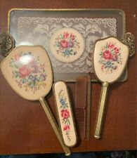 6 piece Vintage boudoir petit point with tray..