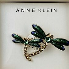 Green Purple New In Box Stunning Anne Klein Gold Tone Dragonfly Pin