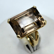 14kt Solid Yellow Gold Large Emerald Cut Citrine Gemstone Ring ~ Sz