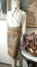 Bel Age BelAge tapestry fishtail skirt gold leaf print olive camel blue lined 12