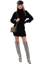 RRP €1365 BALMAIN Mini Jumper Dress Size M Black Ribbed Medium Knit Roll Neck
