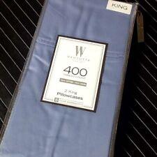 New Set of 2 Periwinkle Blue Wamsutta 100% Cotton Sateen 400 Tc King Pillowcases
