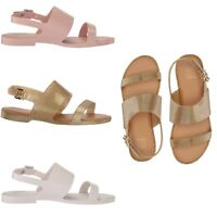 Mini Melissa Girls Kids Mel Classy Striped Ankle Strap Summer Sandals NEW