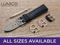 For SEIKO Watch Black Genuine Leather Strap Band Buckle Clasp Mens Ladies Pins