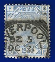 1881 SG157 2½d Blue Plate 23 OF Liverpool Squared Circle OC 21 CV £35 acoy