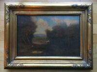 William Keith Oil Painting Landscape Pastoral in Gold Carved Wood Frame