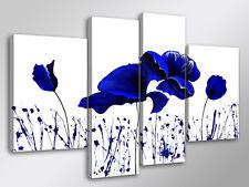 Quadro Moderno 4 pz. BLU FLOWERS cm 140x95 arredamento casa fiori stampa su tela