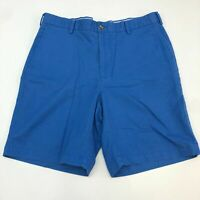 Peter Millar Chino Shorts Men's Size 34 Blue Flat Front Slash Pocket Pima Cotton