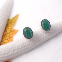 Malachit grün oval Design Ohrringe Ohrstecker Stecker 925 Sterling Silber neu