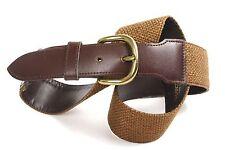 G221 Damen Gürtel Taillengürtel Leder Textil braun 80 cm Vintage Safari