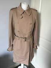 Ted Baker Women's Beige Belted Mac Coat Jacket Size 3 UK 12 Good Condition