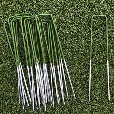 50 x Half Green Artificial Grass Turf Galvanised U Pins Metal Peg Staples