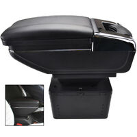 UNIVERSAL Auto Car Armrest Centre Console Storage Box Arm Rest Rotatable Leather