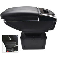 UNIVERSAL Auto Car Armrest Centre Console Storage Box Arm Rest Rotatable Leather